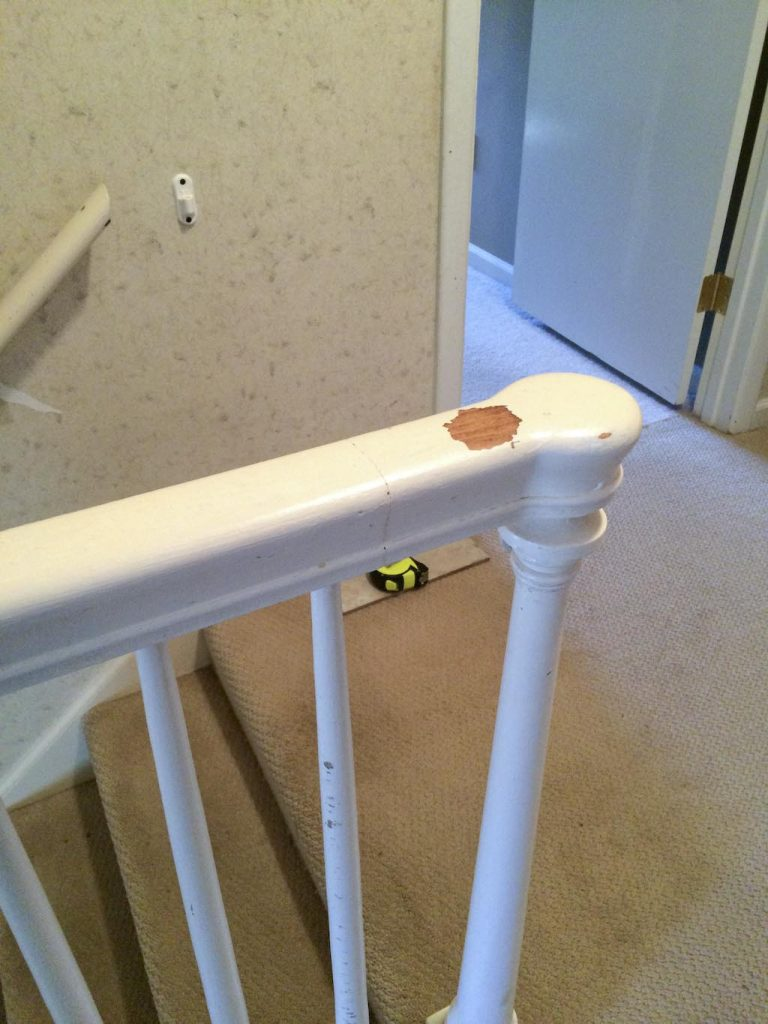 Before beautifying a foyer, bannister railing detail