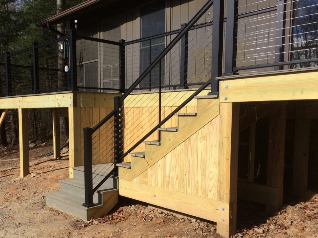 The new deck, view of stairs from behind